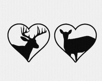 deer heart svg dxf png file instant download stencil silhouette cameo cricut downloads cut file clip art commercial use