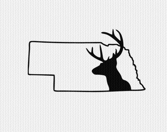 nebraska deer hunting svg dxf file stencil instant download silhouette cameo cricut downloads clip art deer hunting state svg dxf file