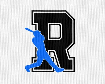 baseball R decal monogram silhouette stencil svg dxf file instant download silhouette cameo cricut downloads clip art commercial use