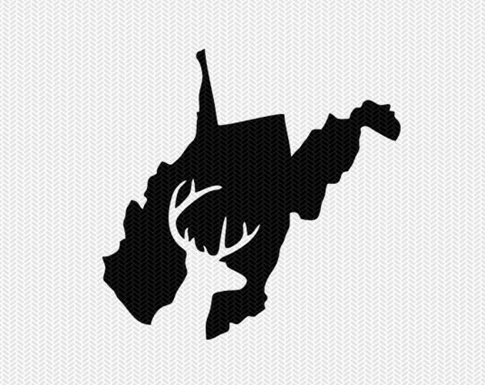 west virginia deer hunting svg dxf file stencil instant download silhouette cameo cricut downloads clip art deer hunting state svg dxf file
