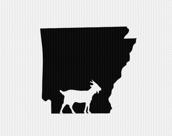 arkansas goat svg dxf file stencil instant download silhouette cameo cricut downloads clip art animals goat state svg dxf file