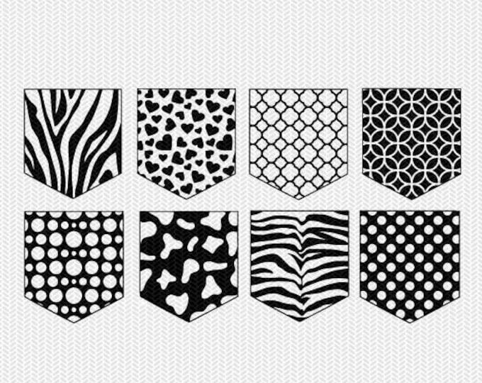 pocket pattern set svg dxf file instant download silhouette cameo cricut downloads clip art commercial use