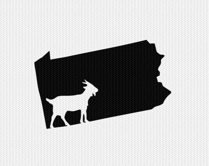 pennsylvania goat svg dxf file stencil instant download silhouette cameo cricut downloads clip art animals goat state svg dxf file