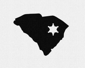 south carolina sheriff svg dxf file stencil instant download silhouette cameo cricut downloads clip art sheriff state svg dxf file