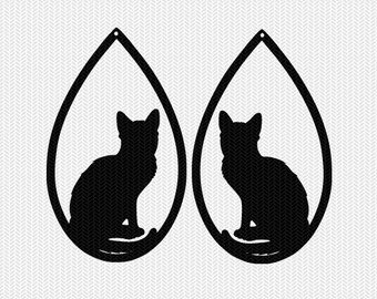 cat earring template earring svg gift tags cricut download svg dxf file stencil silhouette cameo cricut clip art commercial use