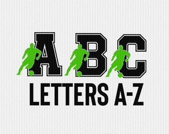 soccer letters set monogram silhouette stencil svg dxf file instant download silhouette cameo cricut downloads clip art commercial use