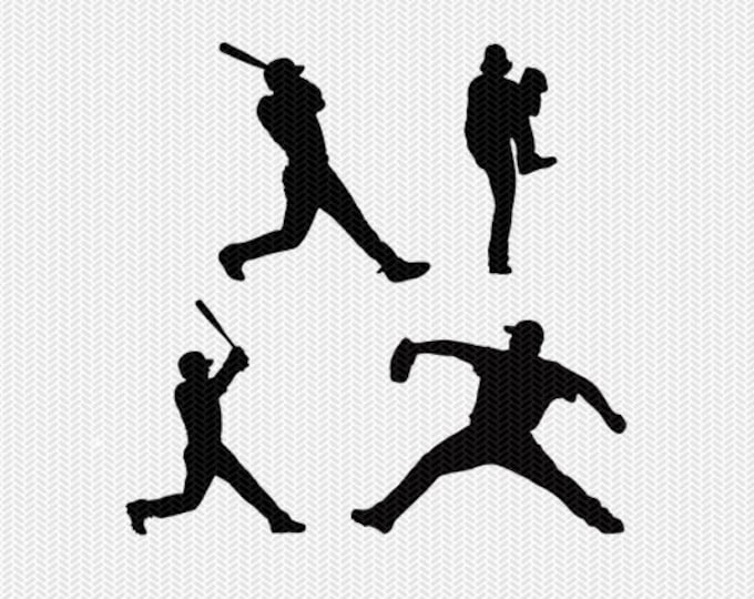 baseball players svg dxf jpeg png file instant download stencil silhouette cameo cricut downloads clip art commercial use