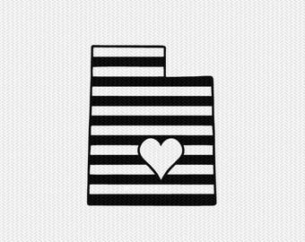 utah stripes heart svg dxf file download stencil silhouette cameo cricut downloads cut file downloads clip art commercial use