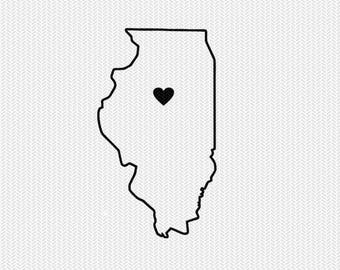 illinois state outline heart svg dxf file stencil monogram frame silhouette cameo cricut clip art commercial use
