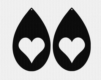 heart earring template earring svg gift tags cricut download svg dxf file stencil silhouette cameo cricut clip art commercial use