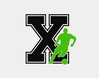 soccer X decal monogram silhouette stencil svg dxf file instant download silhouette cameo cricut downloads clip art commercial use