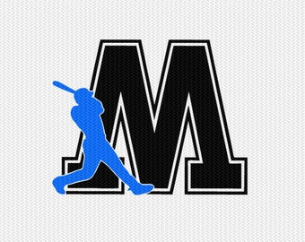 baseball M decal monogram silhouette stencil svg dxf file instant download silhouette cameo cricut downloads clip art commercial use