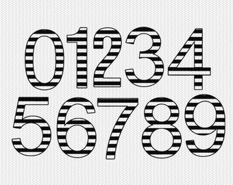 stripe numbers numbers 0-9 svg dxf file instant download silhouette cameo cricut downloads clip art commercial use