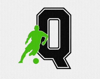 soccer Q decal monogram silhouette stencil svg dxf file instant download silhouette cameo cricut downloads clip art commercial use