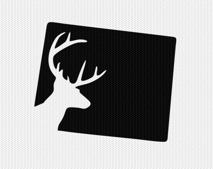 wyoming deer hunting svg dxf file stencil instant download silhouette cameo cricut downloads clip art deer hunting state svg dxf file