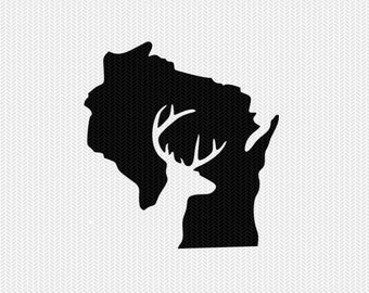 wisconsin deer hunting svg dxf file stencil instant download silhouette cameo cricut downloads clip art deer hunting state svg dxf file