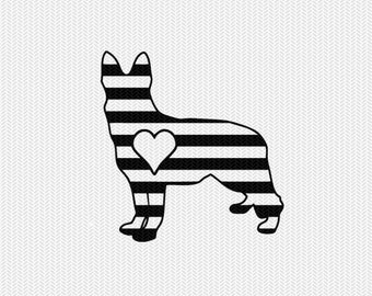 dog stripes heart svg dxf file instant download stencil silhouette cameo cricut downloads clip art commercial use