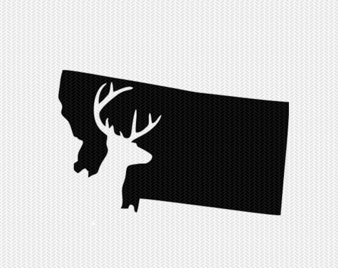montana deer hunting svg dxf file stencil instant download silhouette cameo cricut downloads clip art deer hunting state svg dxf file