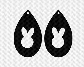 bunny earring template earring svg gift tags cricut download dxf file stencil silhouette cameo cricut clip art commercial use