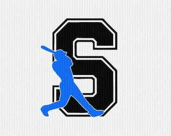 baseball S decal monogram silhouette stencil svg dxf file instant download silhouette cameo cricut downloads clip art commercial use
