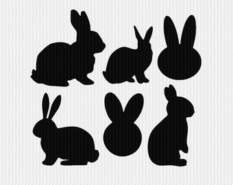 bunnies easter set svg dxf file instant download silhouette cameo cricut downloads clip art commercial use