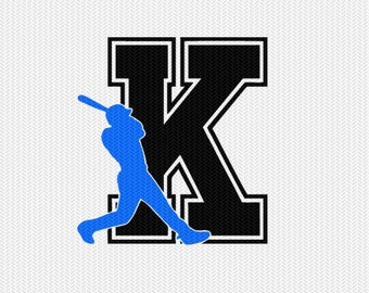 baseball K decal monogram silhouette stencil svg dxf file instant download silhouette cameo cricut downloads clip art commercial use