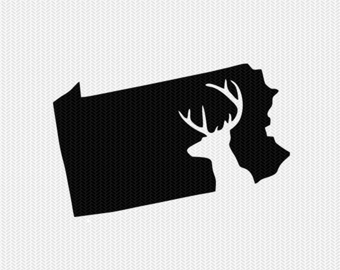 pennsylvania deer hunting svg dxf file stencil instant download silhouette cameo cricut downloads clip art deer hunting state svg dxf file