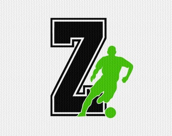 soccer Z decal monogram silhouette stencil svg dxf file instant download silhouette cameo cricut downloads clip art commercial use
