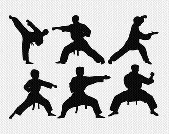 karate taekwondo set svg dxf file instant download silhouette cameo cricut clip art commercial use cricut download