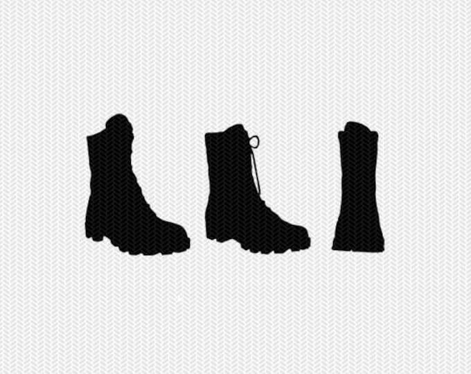 combat boots svg dxf file stencil monogram frame silhouette cameo cricut clip art commercial use