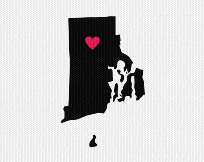 rhode island heart svg dxf cut file stencil monogram frame silhouette cameo cricut download clip art commercial use
