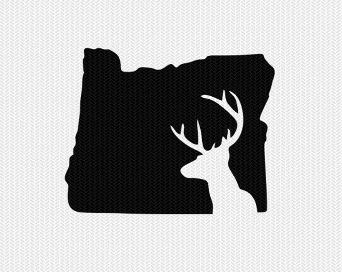 oregon deer hunting svg dxf file stencil instant download silhouette cameo cricut downloads clip art deer hunting state svg dxf file