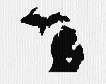 michigan heart svg dxf cut file stencil silhouette cameo cricut download clip art commercial use