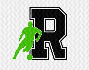 soccer R decal monogram silhouette stencil svg dxf file instant download silhouette cameo cricut downloads clip art commercial use