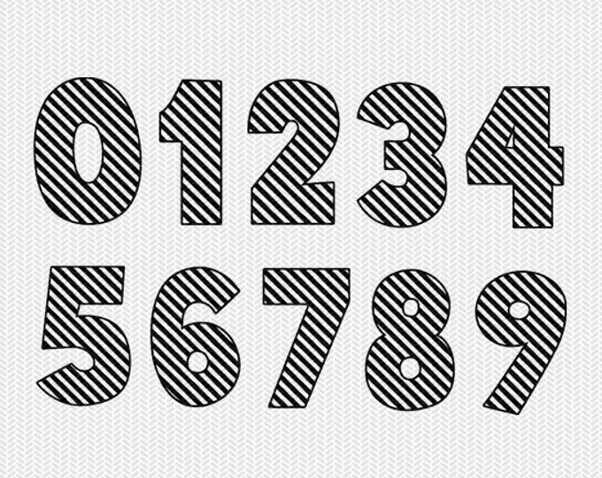 stripe numbers 0-9 svg dxf file instant download silhouette cameo cricut downloads clip art commercial use