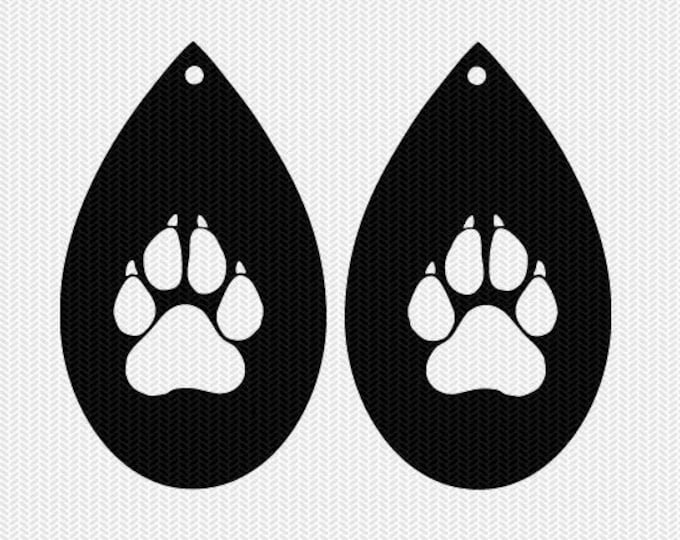 paw earring template earring svg gift tags cricut download svg dxf file stencil silhouette cameo cricut clip art commercial use
