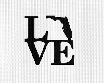 florida love svg dxf file stencil monogram frame silhouette cameo cricut download clip art commercial use