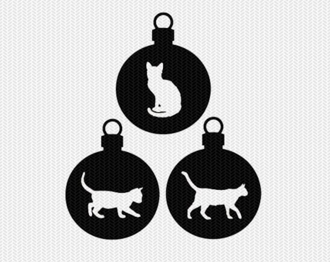 cats ornament svg gift tags cricut download svg dxf file stencil silhouette cameo cricut clip art commercial use