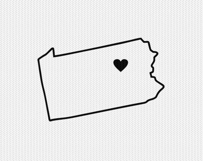 pennsylvania outline heart svg dxf file stencil silhouette cameo cricut clip art commercial use