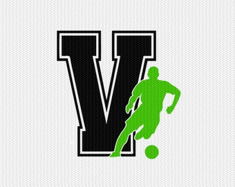 soccer V decal monogram silhouette stencil svg dxf file instant download silhouette cameo cricut downloads clip art commercial use