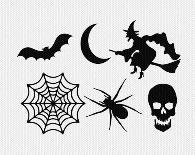halloween set svg dxf cut file instant download stencil silhouette cameo cricut download clip art commercial use