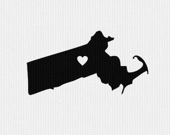 Massachusetts heart svg dxf cut file stencil monogram frame silhouette cameo cricut download clip art commercial use