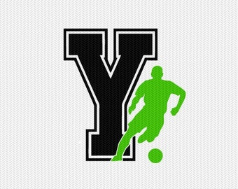 soccer Y decal monogram silhouette stencil svg dxf file instant download silhouette cameo cricut downloads clip art commercial use
