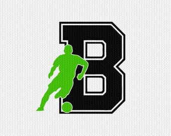 soccer B decal monogram silhouette stencil svg dxf file instant download silhouette cameo cricut downloads clip art commercial use