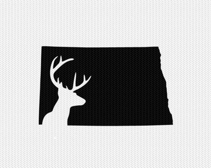 north dakota deer hunting svg dxf file stencil instant download silhouette cameo cricut downloads clip art deer hunting state svg dxf file