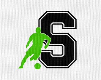 soccer S decal monogram silhouette stencil svg dxf file instant download silhouette cameo cricut downloads clip art commercial use