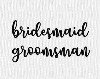 bridesmaid groomsman wedding stencil svg dxf file instant download silhouette cameo cricut clip art commercial use