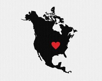 north america heart svg dxf file stencil monogram frame silhouette cameo cricut download clip art commercial use