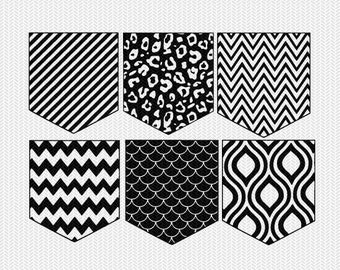 pocket pattern set svg dxf file instant download silhouette cameo cricut downloads clip art commercial use