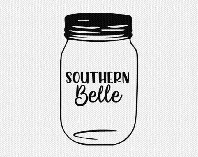 mason jar southern belle svg dxf jpeg png file stencil silhouette cameo cricut clip art commercial use cricut downloads